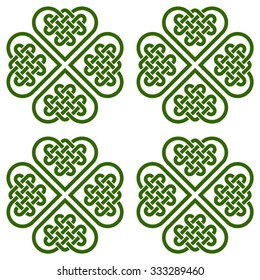 A seamless pattern made of four-leaf clover shaped knots (made, in turn, of Celtic heart shape knots), vector illustration, green silhouette isolated on white background