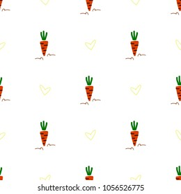Seamless pattern made with hand drawn carrots and hearts.
