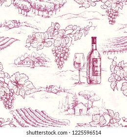 Seamless pattern made with hand drawn grape branches, bottle and glass on rural scene background. Red wine and vineyard vector sketch.