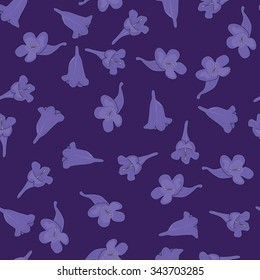 Seamless pattern made of illustrated jacaranda flowers