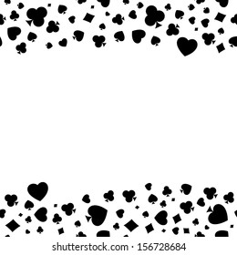 The seamless pattern made out of casino symbols / Heart, diamond, spade and clubs border / The casino symbols background