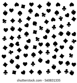 The seamless pattern made out of casino symbols / Heart, diamond, spade and clubs background / The casino symbols background