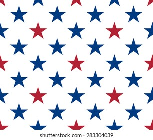 Seamless pattern made from red and blue five pointed stars