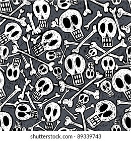 Seamless pattern made of skulls and bones in engravig style.