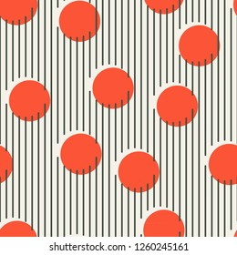 Seamless pattern made from vertical lines and red circles