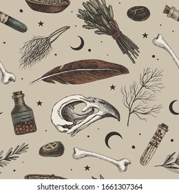 Seamless pattern with magic background for witches and wizards. Mystical objects for witchcraft vector illustration. Skull of a bird, banks with a potion, dry herbs, stones with runes, feather.