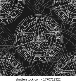 Seamless pattern with magic pentagram and runes, witch or satanic ornament