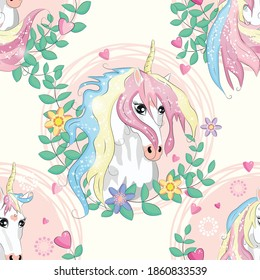 Seamless pattern with magic unicorns, rainbow, flovers, hearts, confetti and other elements