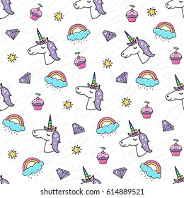 Seamless pattern with a magical unicorn, rainbow, diamond, cupcake.  It can be used for packaging, wrapping paper, textile, phone case etc.