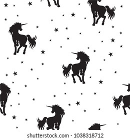 seamless pattern magical unicorn and stars on white background, vector illustration