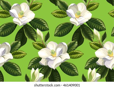 Seamless pattern with magnolia flowers and leaves. Vector illustration.
