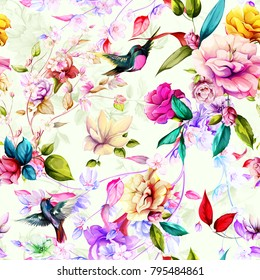 Seamless pattern of magnolia and gladiolus flowers with leaves and birds petroika on tender background. Vintage style. Vector stock.