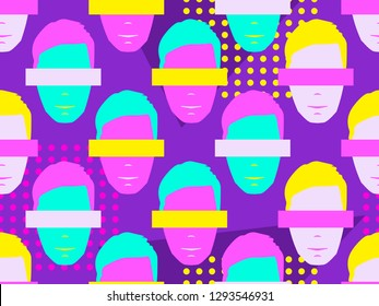 Seamless pattern of male faces with elements of pop art style. Zine culture colorful background. Vector illustration