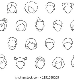 Seamless pattern with male and female avatars. Black and white thin line icons
