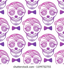 Seamless pattern Man with make up of sugar skull. Dia de los muertos. Mexican Day of the dead. Vector illustration hand drawing isolated on dark background