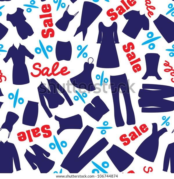 Seamless Pattern Man Woman Garments Sale Stock Vector
