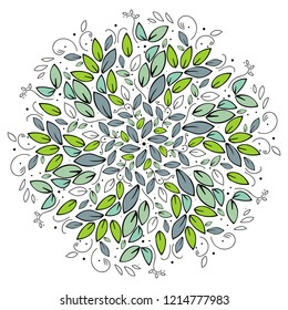 seamless pattern. Mandala circle. Round tree leaves ornament on white background. Green vector illustration.Simple floral mandala print. Abstract flower medallion.