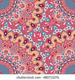 Seamless pattern mandala ornament. Vintage decorative elements. Hand drawn oriental background. Tribal motifs.