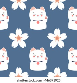 seamless pattern. maneki neko and sakura. vector illustration