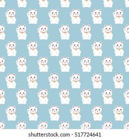 seamless pattern. maneki neko. vector illustration