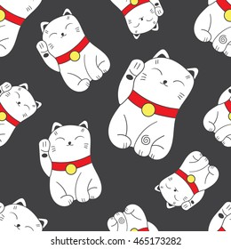 Seamless pattern with Maneki-Neko cat hand drawn icons. Doodle background vector. Set of japanese symbols of good luck and prosperity. Sketch illustration, lucky cats
