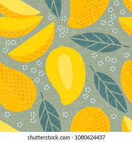 Seamless pattern. Mango juicy fruits leaves and flowers on shabby background.