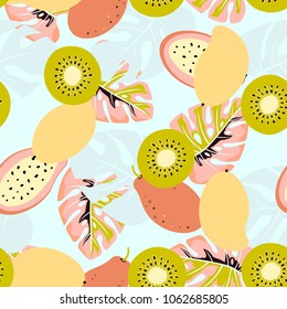 seamless pattern of mango, kiwi, papaya and palm leaves on blue, abstract tropical exotic background