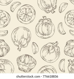 Seamless pattern with mangosteen mangosteen fruit and leaves. Vector hand drawn illustration.