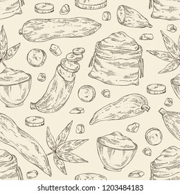 Seamless pattern with manihot esculenta: cassava root, tuber, manihot slice, bag with flour and leaves. Vector hand drawn illustration.