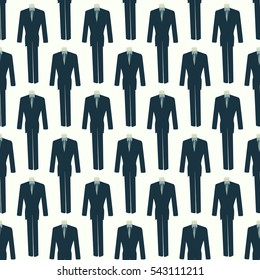 seamless pattern mannequin in a suit and and tie on,for clothing texture on the background