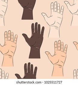 Seamless pattern with man's hands.Part of human body.Skin of three races