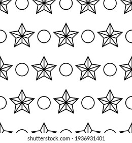 Seamless Pattern. Many Stars And Circles Wallpaper. Stars And Round Shapes In Horizontal Rows. Background With Outline Elements. Abstract Design. Black And White Endless Texture. Zen Art Vector.