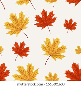 Seamless pattern of maple leaf. autumn pattern design for background and textile. decoration autumn design.