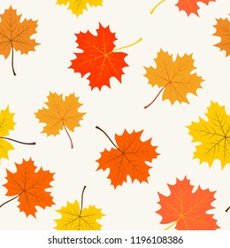 Seamless pattern with maple leaf. Simple background. Stock vector.