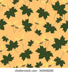 Seamless pattern of maple leaves and seeds. Vector illustration