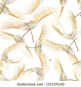 Seamless pattern with maple seed. Vector illustration.