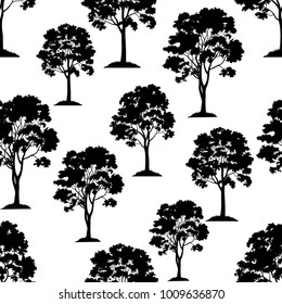 Seamless Pattern, Maple Tree, Black Silhouette Isolated on Tile White Background. Vector