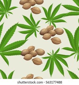 Seamless pattern with marijuana hemp leaves and seeds. Vector illustration.