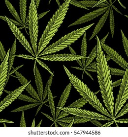 Seamless pattern with marijuana leaf. Hand drawn design cannabis. Vintage color vector engraving illustration for label, poster, web. Isolated on black background