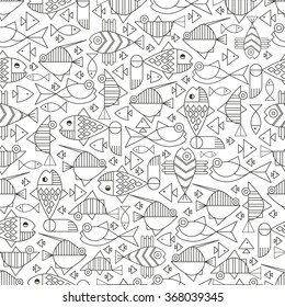 Seamless pattern of marine animals, fish, wildlife, marine life. Icons and badges in the trendy linear style. Suitable for packaging design sea of restaurants and cafes