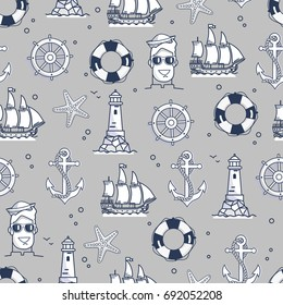 Seamless pattern with marine elements in black and white colors. Nautical objects as ship, sea wheel, life buoy and mariner on endless texture