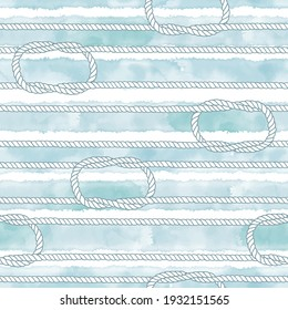 Seamless pattern with marine rope and knots on striped watercolor background. Perfect for design templates, wallpaper, wrapping, fabric and textile.