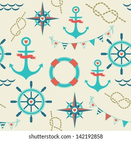 Seamless pattern of marine symbols; anchor, rope, flags, compass  and steering wheel. Cartoon marine icons. Kid's elements for scrap-booking. Childish background. Hand drawn vector illustration.