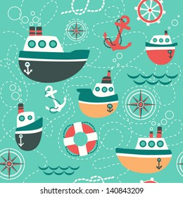 Seamless pattern of marine symbols;  boat, anchor, rope and steering wheel. Cartoon marine icons. Kid's elements for scrap-booking. Childish background. Hand drawn vector illustration.