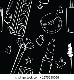 Seamless pattern with mascara, lipstick, blush, eyeshadow and brush on black background. Good for printing. Wallpaper and fabric design. Wrapping paper idea. Doodle style.