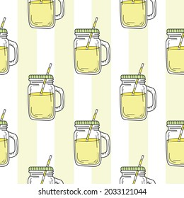 Seamless pattern with mason jar. Yellow summer lemonade. Endless pattern can be used for wallpapers, surface textures.