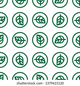 Seamless pattern of Matcha green tea leaf in different orientation. Inspired in Kamon style. Kamon is a Japanese emblem or crest used to decorate and identify an individual, origin and family lineage.