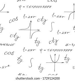 seamless pattern of mathematical formulas, vector Hand Vector