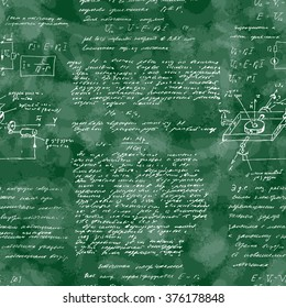 Seamless pattern of mathematical operation and equation, endless arithmetic pattern on seamless green chalk boards. Handwritten lesson. Geometry, math, physics, electronic engineering subjects.
