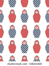Seamless pattern of matryoshka on white background. Image for a poster. Vector illustration. Isolated elements.